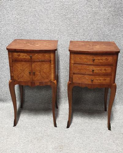 French Oversized Marquetry Bedside Cabinets (1 of 7)