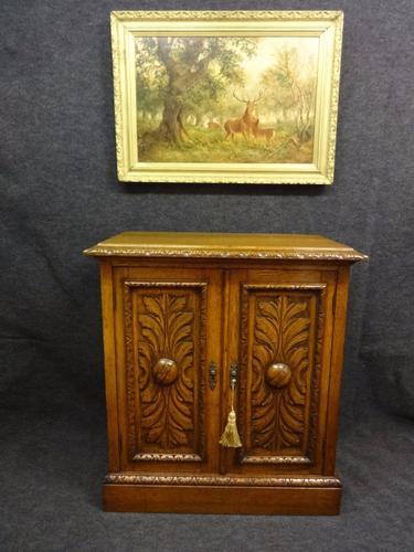 Carved Oak Side Cabinet c.1880 (1 of 1)
