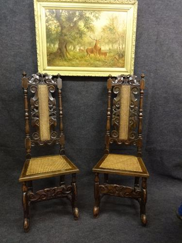 Pair of 18th Century Carolean Oak Hall Chairs (1 of 1)