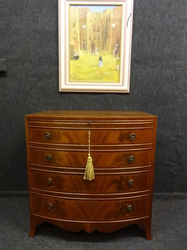 Mahogany Bowfront Batchelors Chest c.1920 (1 of 1)