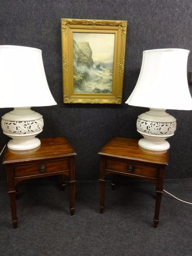 Pair Mahogany Lamp Tables / Bedside Tables c.1920 (1 of 1)