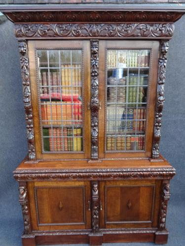 Stunning Carved Oak Bookcase c.1880 (1 of 1)