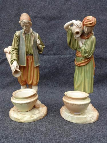 Large Pair of Worcester Figures 'Water Carriers' by James Hadley 1880 (1 of 8)