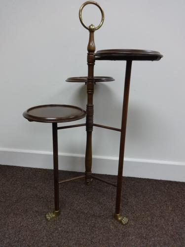 Good Brass and Mahogany Cake Stand (1 of 1)