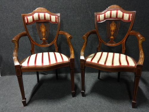 Excellent Pair of Mahogany Inlaid Elbow Chairs (1 of 1)