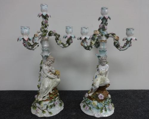 Stunning Pair of German Dresden Candelabra c.1880 (1 of 8)