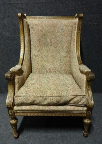 French Gilt Winged Armchair c.1880 (1 of 1)