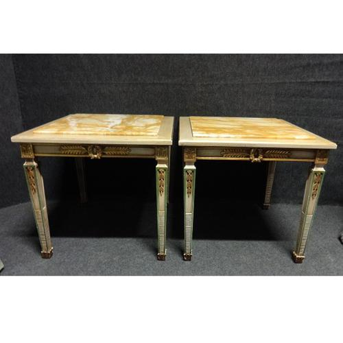 Pair of Marble Topped Lamp / End Tables (1 of 9)