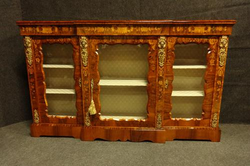 Outstanding Walnut Floral Marquetry Victorian Credenza (1 of 9)