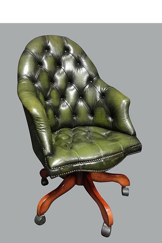 Green Leather Office, Desk Chair (1 of 5)