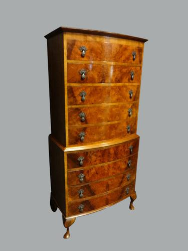 Very Good Burr Walnut Chest on Chest of Drawers (1 of 1)
