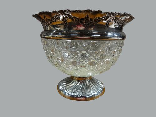 Beautiful Hobnail Cut Glass and Silver Bowl, Chester 1901 (1 of 1)