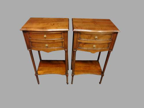Pair of Fruitwood Bedside Chests of Drawers c.1920 (1 of 1)