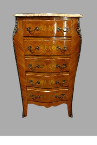 Serpentine French Kingwood Five Drawer Chest of Drawers c.1920 (1 of 1)