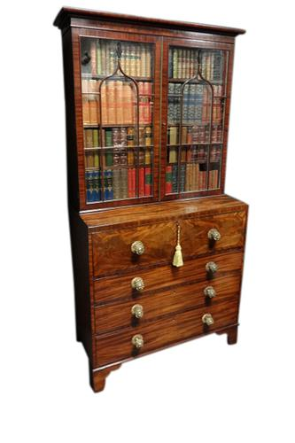 Magnificent Inlaid Regency Secretaire Bookcase (1 of 1)