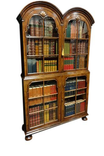 Very Good Queen Anne Walnut Double Bookcase c.1920 (1 of 1)