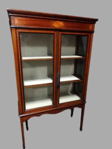 Very Good Inlaid Mahogany Display Cabinet (1 of 1)