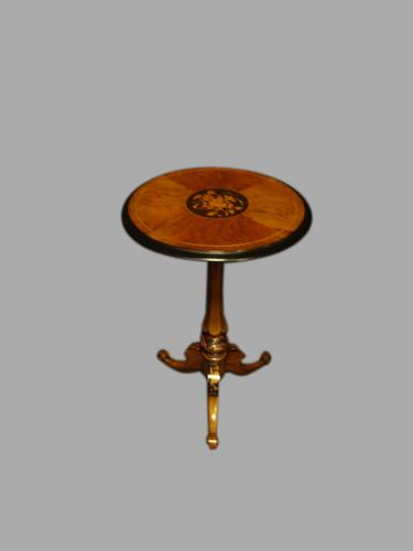 Walnut & Ebony Inlaid Occasional Pedestal Table c.1870 (1 of 1)
