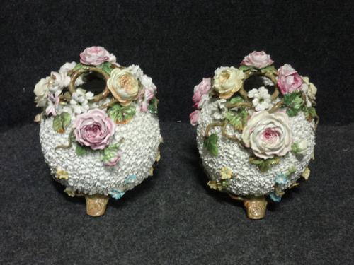Large Pair of Flower Encrusted Basket Vases c.1870 (1 of 1)