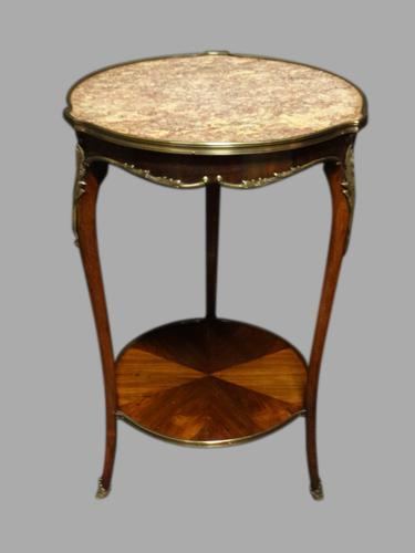 French Kingwood & Marble Occasional Table c.1900 (1 of 1)