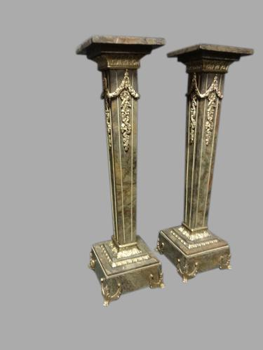 Very Good Pair of Marble Pedestals Columns (1 of 1)