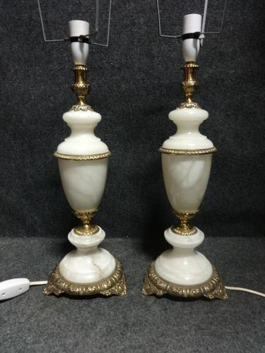 Superb Pair of White Alabaster & Brass Mounted Table Lamps (1 of 1)