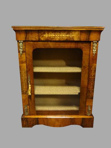 Victorian Inlaid Walnut Pier Cabinet Bookcase (1 of 1)