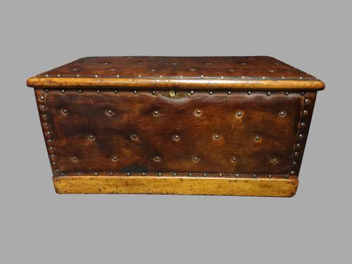 Good Leather Studded Pine Box c.1870 (1 of 1)
