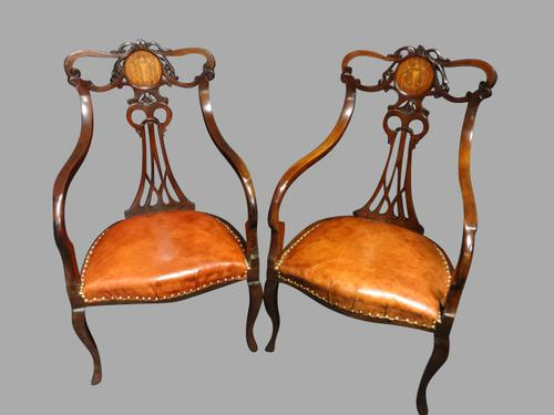 Pair of Inlaid Mahogany Art Nouveau Chairs (1 of 1)