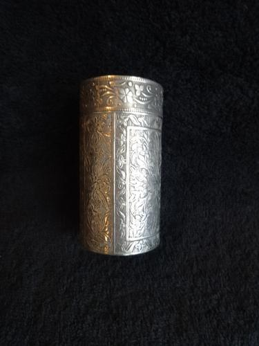 Superb Quality 19th Century Indian Silver Cylinder Box (1 of 1)