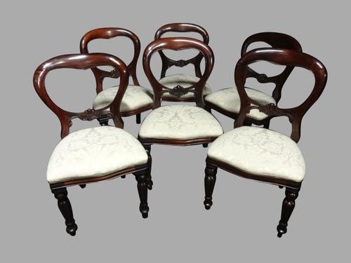 Set of Six Mahogany Balloon Backed Dining Chairs (1 of 1)
