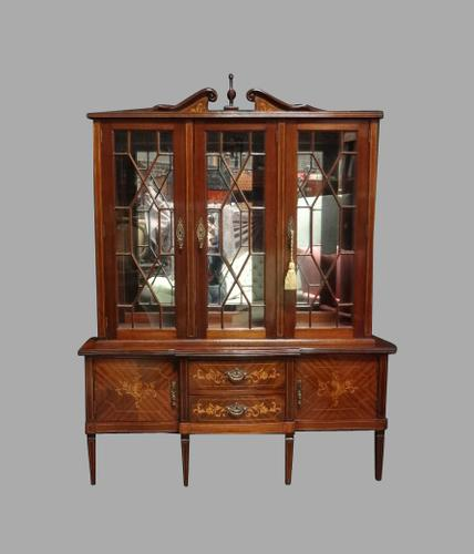 Excellent Quality Mahogany Inlaid Display Cabinet (1 of 1)