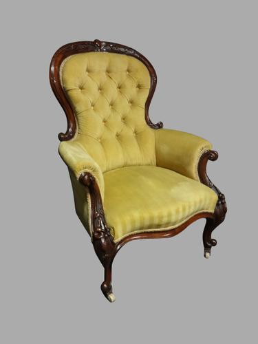 Very Good Victorian Mahogany Framed Armchair (1 of 1)