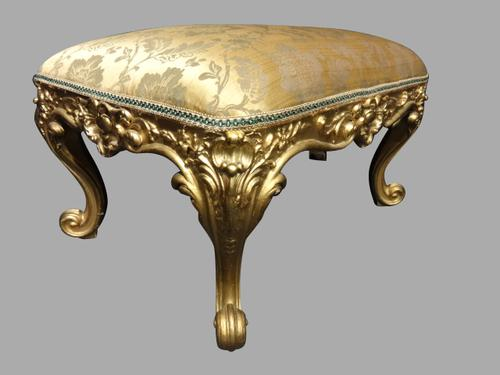 Very Good Victorian Gilt Stool (1 of 1)