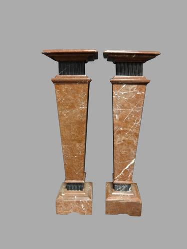 Magnificent Pair of Rouge Marble Pedestal Columns (1 of 1)