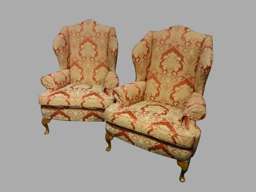 Excellent Pair of  Upholstered Wing Armchairs C.1920 (1 of 1)