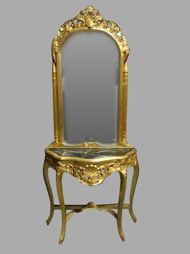 Giltwood Console Table & Mirror c.1920 (1 of 1)