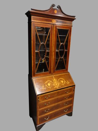 Good Inlaid Mahogany Bureau Bookcase (1 of 1)