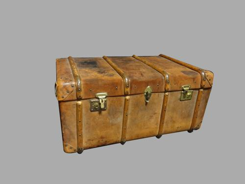 Wooden Banded Leather Trunk c.1880 (1 of 1)