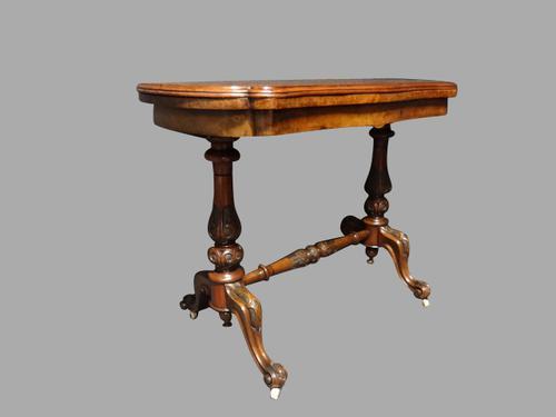 Victorian Inlaid Burr Walnut Card Table (1 of 1)