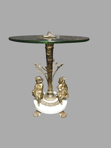 Pretty Glass, Gilt Metal & Marble Occasional Table c.1920 (1 of 1)