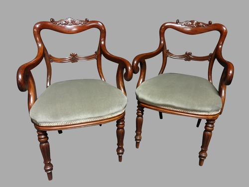 Excellent Pair of Mahogany Balloon Backed Carved Chairs (1 of 1)
