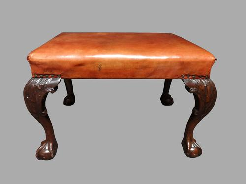 Mahogany Framed Leather Topped Stool c.1890 (1 of 1)