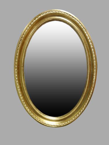 Edwardian Gilt Framed Oval Mirror (1 of 1)
