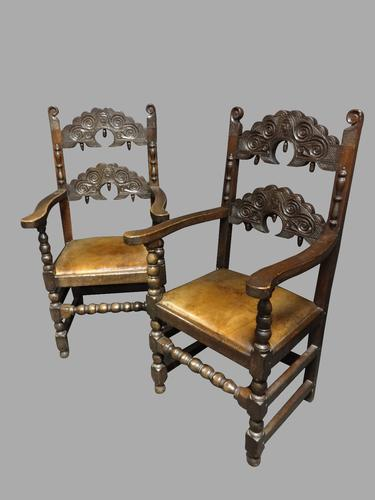 Pair of Oak Carver Hall Chairs c.1900 (1 of 6)