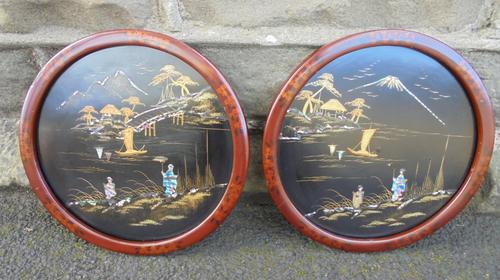 Pair of Antique Oriental Lacquered Chinoiserie Panels c.1900 (1 of 8)