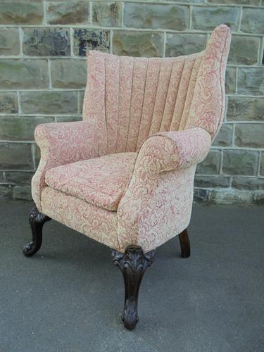 Antique English Barrel Back Wing Armchair (1 of 6)