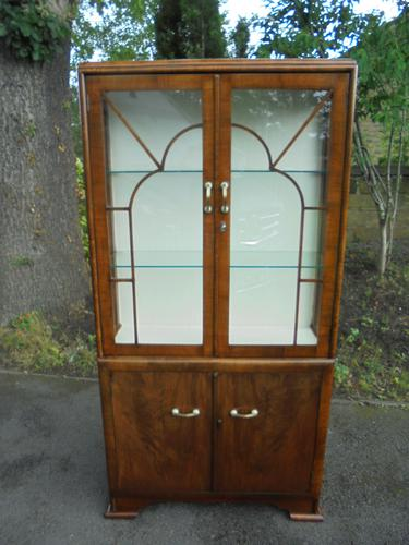 Art Deco Walnut Display Cabinet (1 of 8)