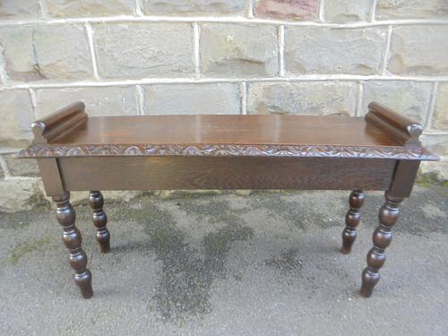 Antique Carved Oak Hall Seat Stool Bench c.1860 (1 of 8)