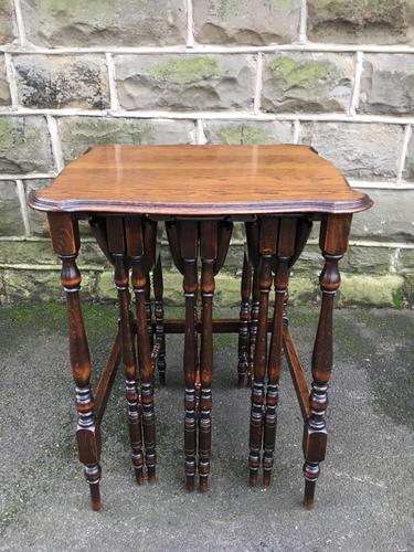 Antique Oak Nest of 4 Tables (1 of 9)